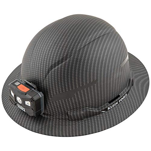 Klein Tools 60346 Hard Hat, Non-Vented Full Brim, Class E, Premium KARBN Pattern, Rechargeable Lamp, Padded Sweat-Wicking Sweatband, Top Pad