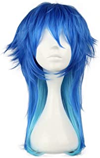 NiceLisa Middle Length Gradient Blue Fluffy Boy Teens Male Anime Festival Cosplay Costume Synthetic Halloween Wigs