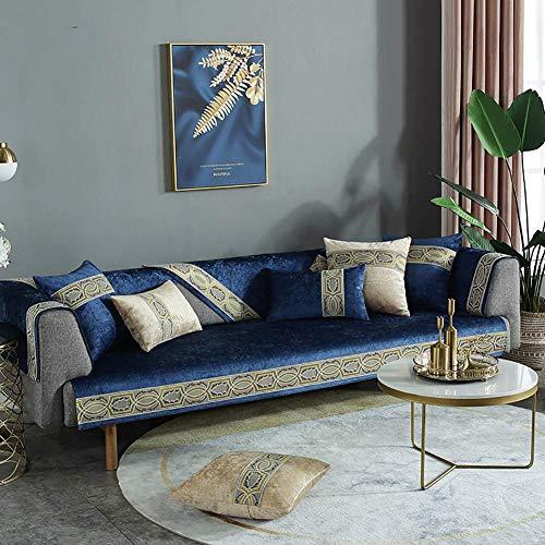 Funda de sofá antideslizante para sofá de cuero, funda de sofá de tela jacquard, protector de muebles para perros, funda de sofá acolchada para sillón reclinable seccional, funda de almohada azul mar