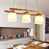 ZMH Rustikal Pendelleuchte esstisch Pendellampe Esstischlampe Holz und Glas Hängeleuchte 3 x LED E27 Hängelampe für Esszimmer/Wohnzimmer/Büro/cafe Leuchtmittel inklusiv