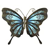 Liffy Metal Butterfly Wall Decor Outdoor Garden Fence Art Hanging Glass Decorations for Patio or Bedroom
