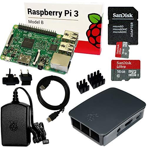 Raspberry Pi 3 Set mit 16 GB SD-Karte, HDMI, original Netzteil und Gehäuse, Kühlkörper (schwarz)