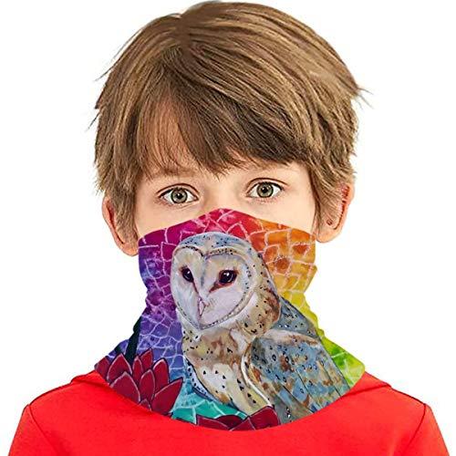 UV Protection Face Masks, Kids Child Dust Proof Breathable Neck Gaiter, Vahana Bird Whisperer Project Barn Owl Red Flowers Headwear Neck Buff for Riding Hiking