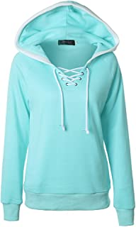 Sunhusing Women's Solid Color Hooded Pullover Tops Cross Drawstring Lace-Up Jumper Hoodie Sweatshirt