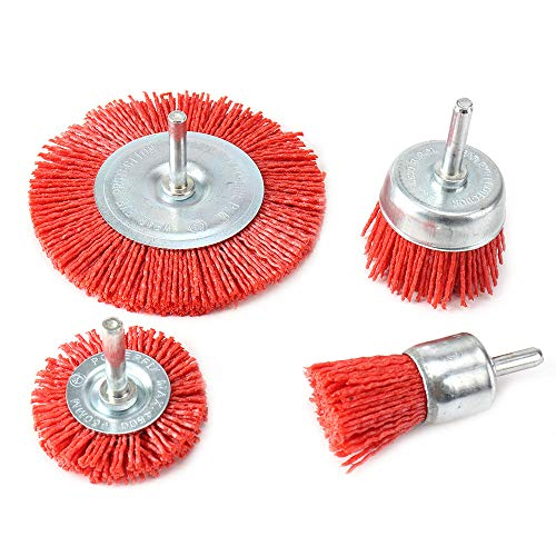4Pcs Nylon Filament Abrasive Wire Cup Brush Nylon End Brush Kit for Drill Rotary Tool with 1/4'' Shank