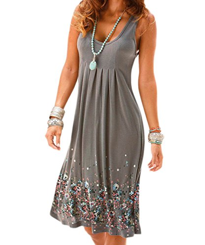 Aelson Womens Summer Casual Sleeveless Mini Printed Vest Dresses,Gray,Small
