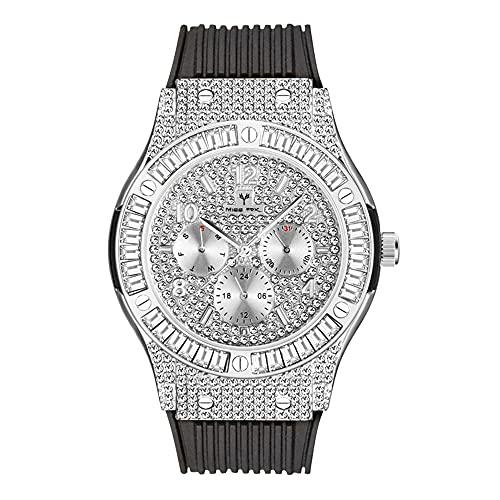 KLFJFD Personalidad De La Moda Deportes Rhinestone Banda De Silicona Reloj De Cuarzo Multifunción Regalo De Moda para Hombres Reloj Casual
