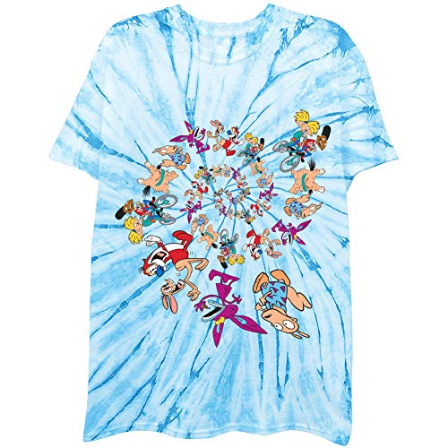 Nickelodeon Mens 90's Classic Shirt - Tie Dye Rugrats, Reptar, Ren & Stimpy, and Hey Arnold - Vintage Tie Dye T-Shirt (Multicolor Swirl Groupe, X-Large)