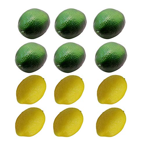LACKINGONE 12 x künstliche Limetten Zitronen Deko-Schaumstoff künstliche Frucht-Imitation Heimdekoration (6 Gelb+6 Grün)