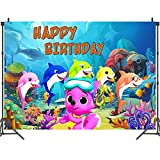Shark Fondo - simyron Tema Fotografía Telón Fondo, Telon de Fondo Shark Banner Fiesta Cumpleaños para Fiesta Cumpleaños Niños Bautizo,150 * 100cm