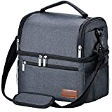 Lunch Box, STNTUS Lunch Bag, Insualted Lunch Box for Men Women, Leakproof Cooler Bag, Adult Lunchbox for Meal Prep, Large Lunch Tote with Dual Compartment, Lunch Cooler (Black without Ice Pack)