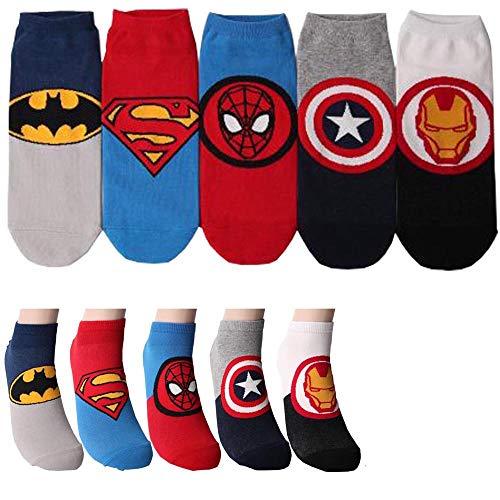 Superheld Charakter Herren Knöchel Socks 5 Paaren - Iron Man, Batman, Kapitan Amerika, Spider Man, Superman Sneakersocken