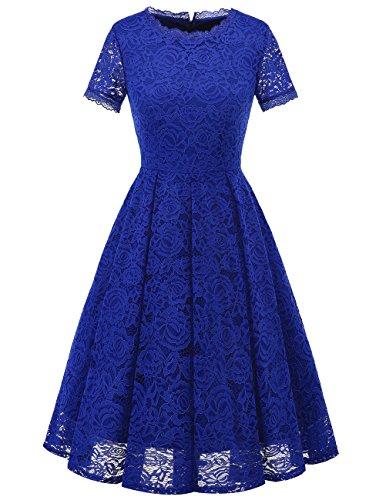 DRESSTELLS Damen Midi Elegant Hochzeit Spitzenkleid Kurzarm Rockabilly Kleid Cocktail Abendkleider Royal Blue M