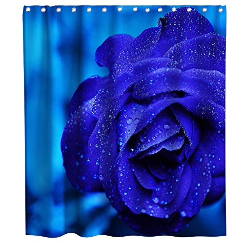 Kntiline Romantic Rose Flowers Blue Enchantress Theme Fabric Floral Shower Curtain Sets Kids Bathroom Flower Decor with Hooks Waterproof Washable 72 x 72 inches Dark Blue