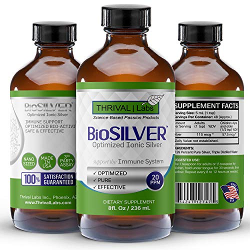 BioSILVER Optimized 20 PPM Bio-Active Ionic Silver Liquid Solution in 8 oz. (236 mL) Dark Glass Bottle by Thrival Labs | Nano Ions and Particles for Superior Immune Support (48 Servings) – Family Size