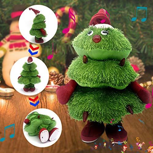 QHJ Singen Und Tanzen Weihnachtsbaum Plüschtier Kinder Weihnachtsgeschenk, Elektrisches Singendes Weihnachtsvlies Festival Puppen Spielzeug (Grün)