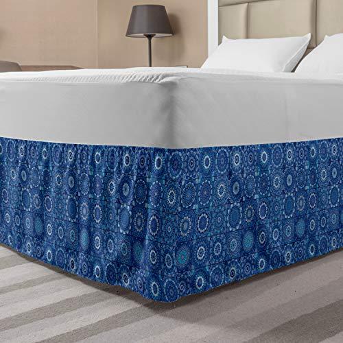 Ambesonne Blue Mandala Bed Skirt, Moroccan Traditional Tiles Portuguese Azulejo Inspired Design, Elastic Bedskirt Dust Ruffle Wrap Around for Bedding Decor, Queen, Blue Indigo