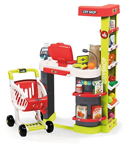 Smoby 350211 - City Shop mit Einkaufswagen, rot/grün