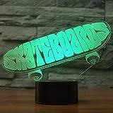 Intéressant Lampe de Table LED Sport Skateboard 3D USB lumière de Nuit 7 Couleurs Chambre Changement décoration de la Maison planchiste Cadeaux Boy
