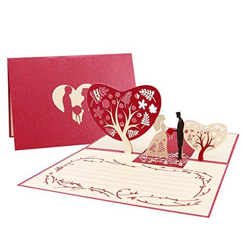 Unomor Hochzeitskarten 3d Glückwunschkarte Hochzeit Pop Up mit Umschlag für die Hochzeit Glückwünsche Einladung
