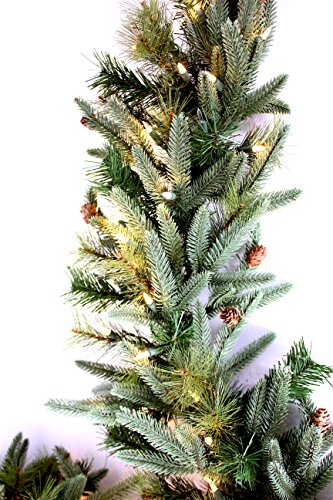 9' by 12' Pre-Lit Mountain Fir & Pine Garland, with 100 Clear Lights, 120v Plug-in, Mimics Texture and Color of Natural, Freshly Cut Needles, Adorned with Select Mini Pine Cones, Indoor/Outdoor