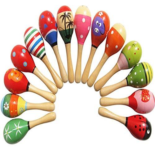 #N/V Juguetes de bebé sonajero de madera lindo mini martillo de arena maracas instrumento musical juguetes niños regalos