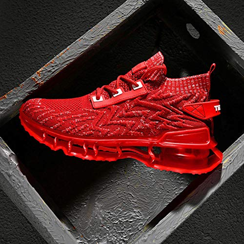 Aerlan Treaded Sole Trainers,Calzado de Fitness para Trail Running,Otoño e Invierno Zapatos de Hombre de caña Alta Malla Zapatos Deportivos de Senderismo-B Red_44#