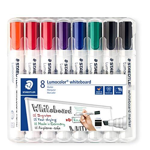 Staedtler Lumocolor 351 B WP8X Whiteboard-marker (wigvormige punt ca. 2 of 5 mm lijnbreedte, set met 8 markers, hoge kwaliteit, droog en zonder resten afwasbaar van whiteboards).