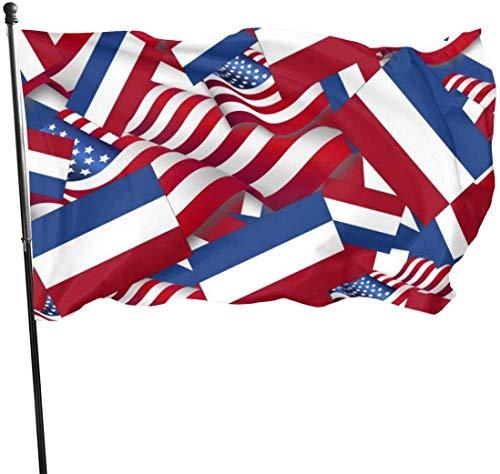 Bandera de los Países Bajos con Bandera de América para Exteriores, 3 x 5 pies, Bandera de Estados Unidos, poliéster Resistente a la decoloración UV, Vallas Decorativas, jardín, Patio, césped.