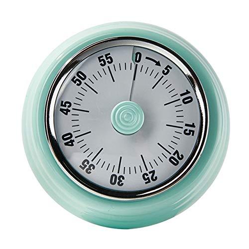 VEADK Küchentimer Edelstahl mechanische Küche Timer runde Form 60 Minuten Neuheit Countdown Küche Wecker Zeit Erinnerung Küche Werkzeug, blau