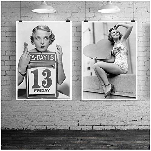 NRRTBWDHL American Classic Fashion Icon Wandkunst Leinwand Poster Audrey Hepburn Drucke Gemälde Bild Raum Dekor-50X70Cmx2Pcs No Frame