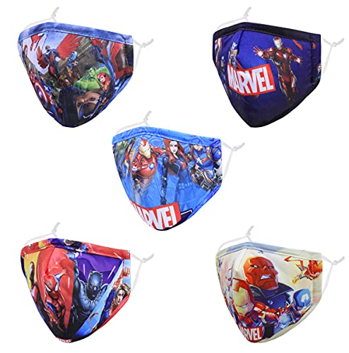 Kids Reusable Cloth Face Masks, 3D Blue Superhero Funny Cute Designer Breathable Washable Adjustable Cotton Fabric Face protection Childrens Toddler Teen Youth mascaras para niños, Gift For Boys Girls