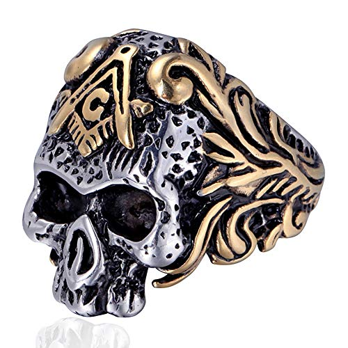 DFWY Men's Stainless Steel Masonic Skull Signet Ring,Gothic Style Freemason Skeleton Head Rings,Middle Ages Vintage Punk Classic Band Jewelry (Color : Mixed Color, Size : 11)