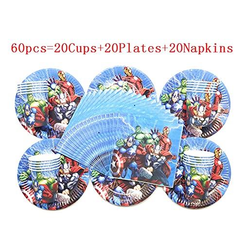 Jjwlkeji Vajilla De Fiesta Hot SUPERTHEME Hero NIÑOS Placas de cumpleaños Cups Tazas Napkins Party Decoration Set Party Supplies Baby Cumpleaños Evento Fiesta Suministros (Color : BeiPanZhi 60)