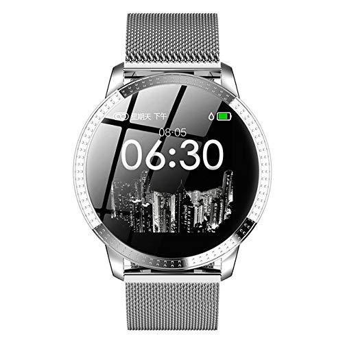 ZTYY Reloj de señoras de Las Mujeres del Reloj Inteligente Deporte LED Digital Relojes de Pulsera electrónica de la Marca Mujeres del Reloj de Pulsera de Mujeres (Color : Silver)