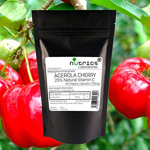 Nutrics 700mg Acerola Cherry   90 V Capsules   Made in The UK by Nutrics Laboratories   Suitable for Vegan Vegetarian Halal Kosher