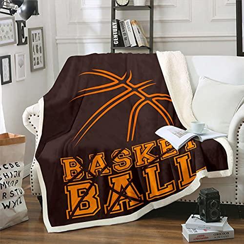 Manta de franela de baloncesto deportiva para niños y adolescentes, manta de baloncesto vintage, para sofá, para dormitorio, deportes, juego de lana, tamaño individual (60 x 80 pulgadas)