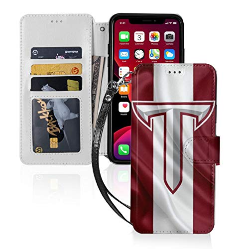 Troy-Trojans-Red-and-White iPhone 11 Wallet Case with Card Holder PU Leather Detachable Wrist Strap Designed for iPhone 11-6.1 Ultra-Thin Magnetic TPU Phone Cover