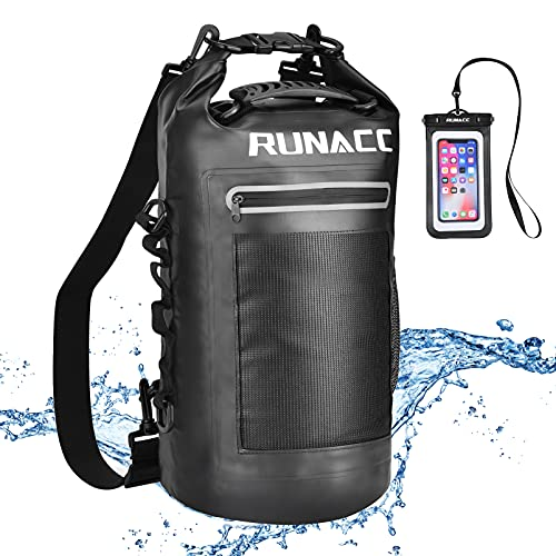 RUNACC Dry Bag Wasserdicht Taschen Packsack wasserdichte Tasche für Herren Dry Tasche und Lang Verstellbarer Schultergurt für Boot und Kajak Angeln Rafting Schwimmen Camping und Snowboarden 20L