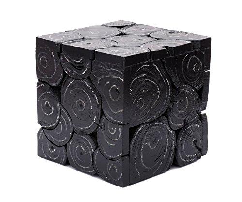 Brillibrum design bijzettafel van teak, robuust massief hout, bloementafel, bloemenzuil, landhuisstijl, hout, teakhout, woonaccessoires Klein: 29 x 29 x 29 cm Black Wash bruin