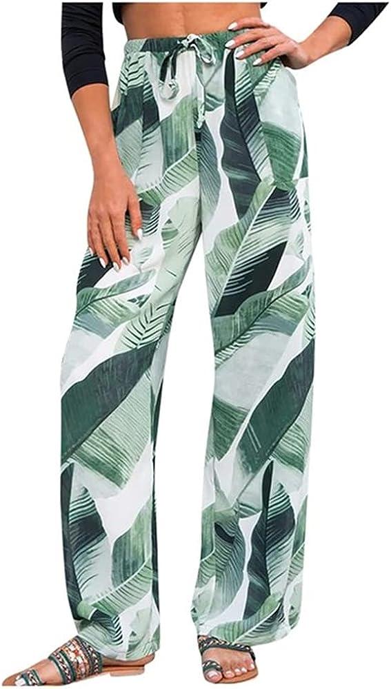 NP Summer Wide Leg Pants Waist Loose Floral Print Long Women