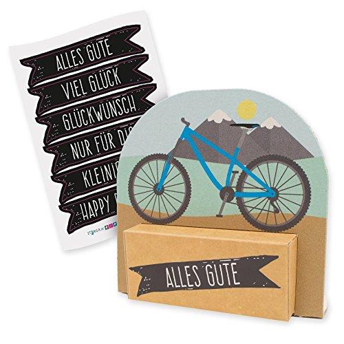 itenga Geldgeschenk oder Gastgeschenk Verpackung Fahrrad Mountainbike modern mit Stickerbogen aus Karton 12x11,5cm
