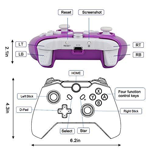 TechKen Wireless Switch Pro Controller, Bluetooth Switch Controller Kabellos Ersatz Gamepad Gaming Joystick Dual Shock Vibration Controller Game Zubehör für Switch Console (Purple)