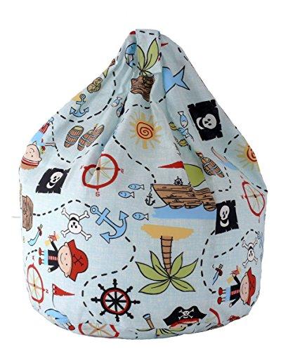 Cotton Blue Pirate Island Bean Bag Child Size