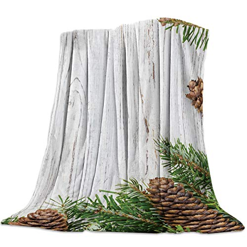 Flannel Throw Blanket with Pine Green Spring Wood Texture Print,50x80IN Fuzzy Plush Microfiber Ultra Soft Bedding Blankets for Sofa/Chair/Home Decor