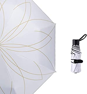 YbauShop umbrella Sun Umbrella Parasol Anti-UV Female Ultra Light Small Folding Umbrella Dual-use Sunscreen Mini Five Fold Umbrella, Three Fold Umbrella Outdoor, Rainy, Travel,Portable (Color : D)