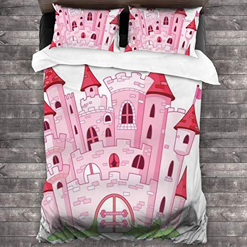 HARXISE Microfibra Juego de Cama Efectos 3 Piezas,Princesa Castle Cute Fairy Tale Princesa Magic Kingdom Cartoon Ilustración,1(140x200cm)+2(50x80cm)