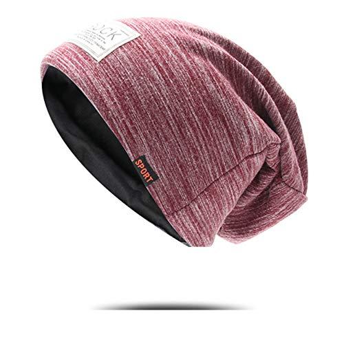 Lanly Beanie Slouch Mütze Kopfbekleidung Leicht Jersey Mütze Docker Cap Einstellbar Unisex Herren Damen Baumwolle (Rot 1)
