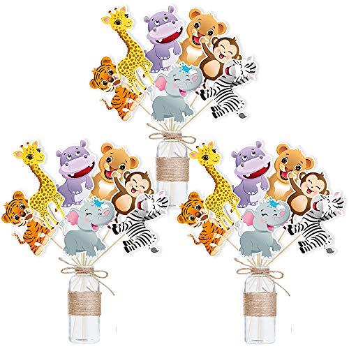 WERNNSAI Giungla Safari Tema Festa Decorazioni Tavolo Toppers - 21 Pezzi Zoo Animali Centrotavola Sticks per Bambini Compleanno Baby Shower Articoli per Feste