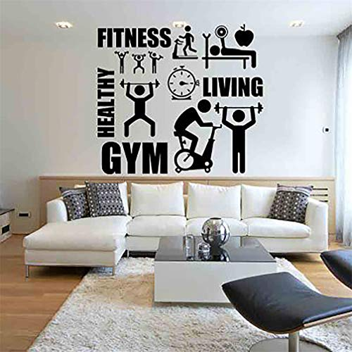 Wall Sticker Gym Fitness Healthy Living Wall Decal Work Out Removable PVC Decoration Home Bedroom Decor